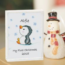 1st Christmas Penguin Glass Keepsake - Baby's First Christmas Gift